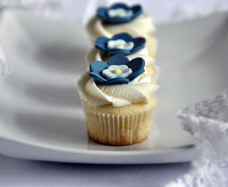 Wedding Shower Blue Flower Cupcakes