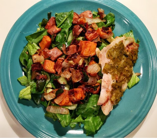 Sweet Potato and Poblano Salad with Green Chile Broiled Grouper
