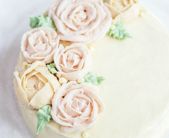 Lemon Rose Water Cake with Buttercream Flowers