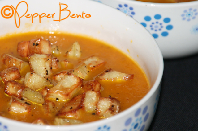 Pepper's Spicy Roast Carrot Soup with Crispy Potato Croûtons Recipe!