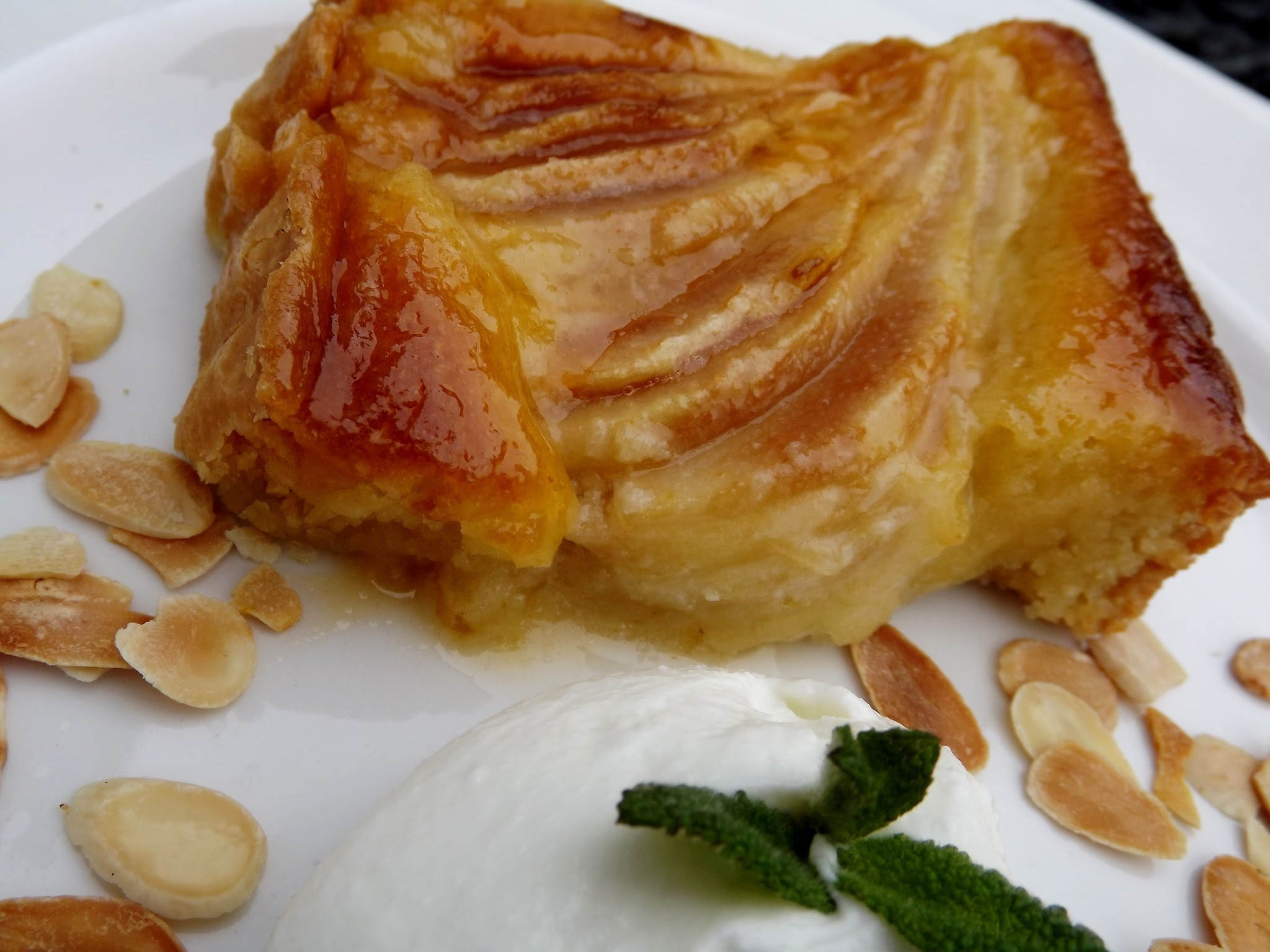Pear & Frangipane Tart with Amaretto Whipped Cream