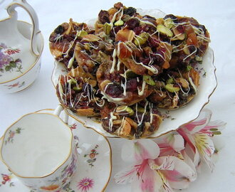 White Chocolate Florentines with Cranberries & Pistachios