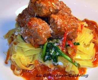 Spicy Meatballs with Homegrown Tomato Sauce, Spinach and Tagliatelle