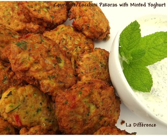 Courgette/Zucchini Pakoras with minted yoghurt dip