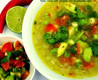 Aztec Chicken Soup with  Avocado Salsa