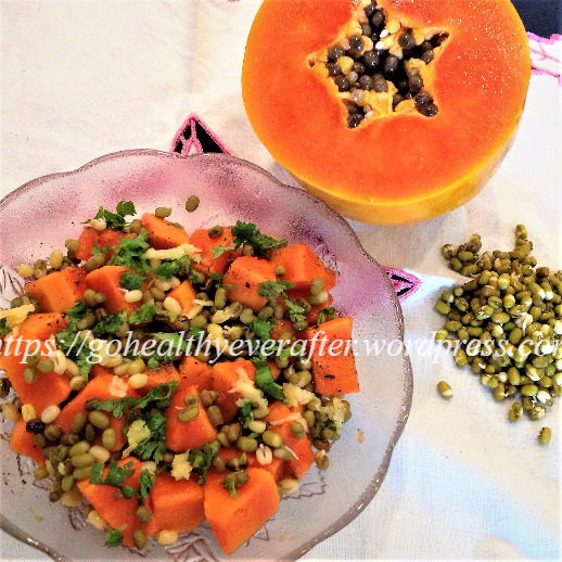 Sweet and spicy papaya salad with moong sprouts