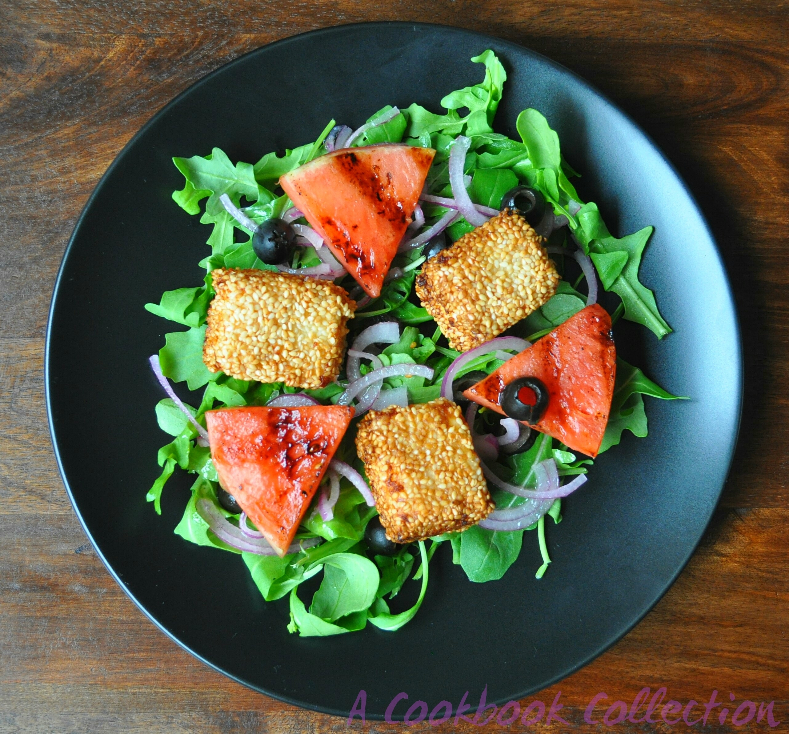 Grilled Watermelon and Sesame Feta Salad