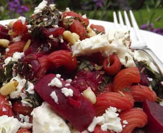 Pasta with Beetroot, Feta & Pine Nuts