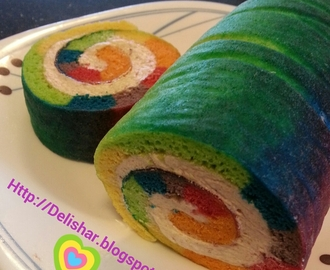 Rainbow Tie-Dye Swiss Roll with Strawberry Buttercream