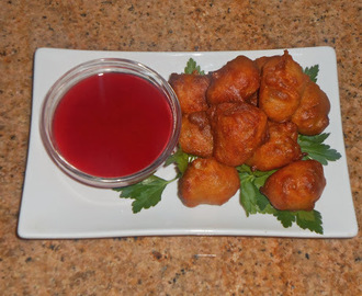 Mojo Beer Batter Bacon Wrapped Dates with Raspberry Coulis