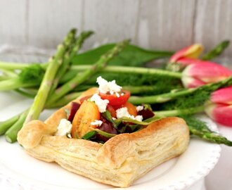 Puff Pastry Tart with Tomatoes, Asparagus and Herbed Feta