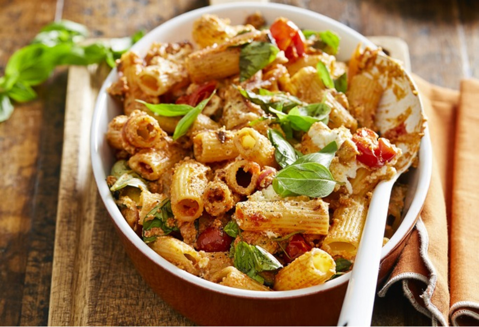 Pasta with eggplant, chilli and ricotta