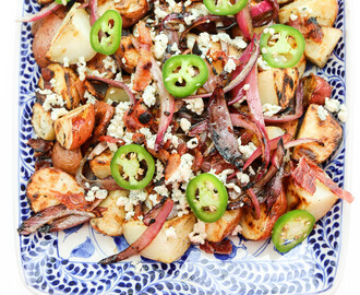 Grilled Potato Salad with Jalapeno, Bacon, & Blue Cheese