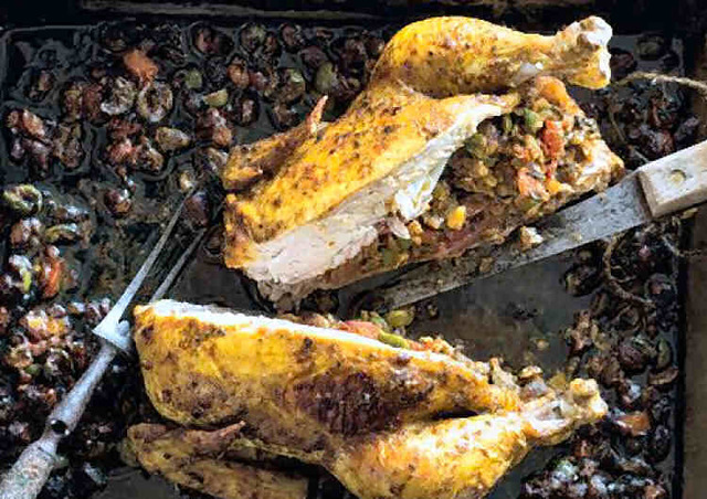 Spicy Roast Chicken with Green Olive and Pistachio Stuffing