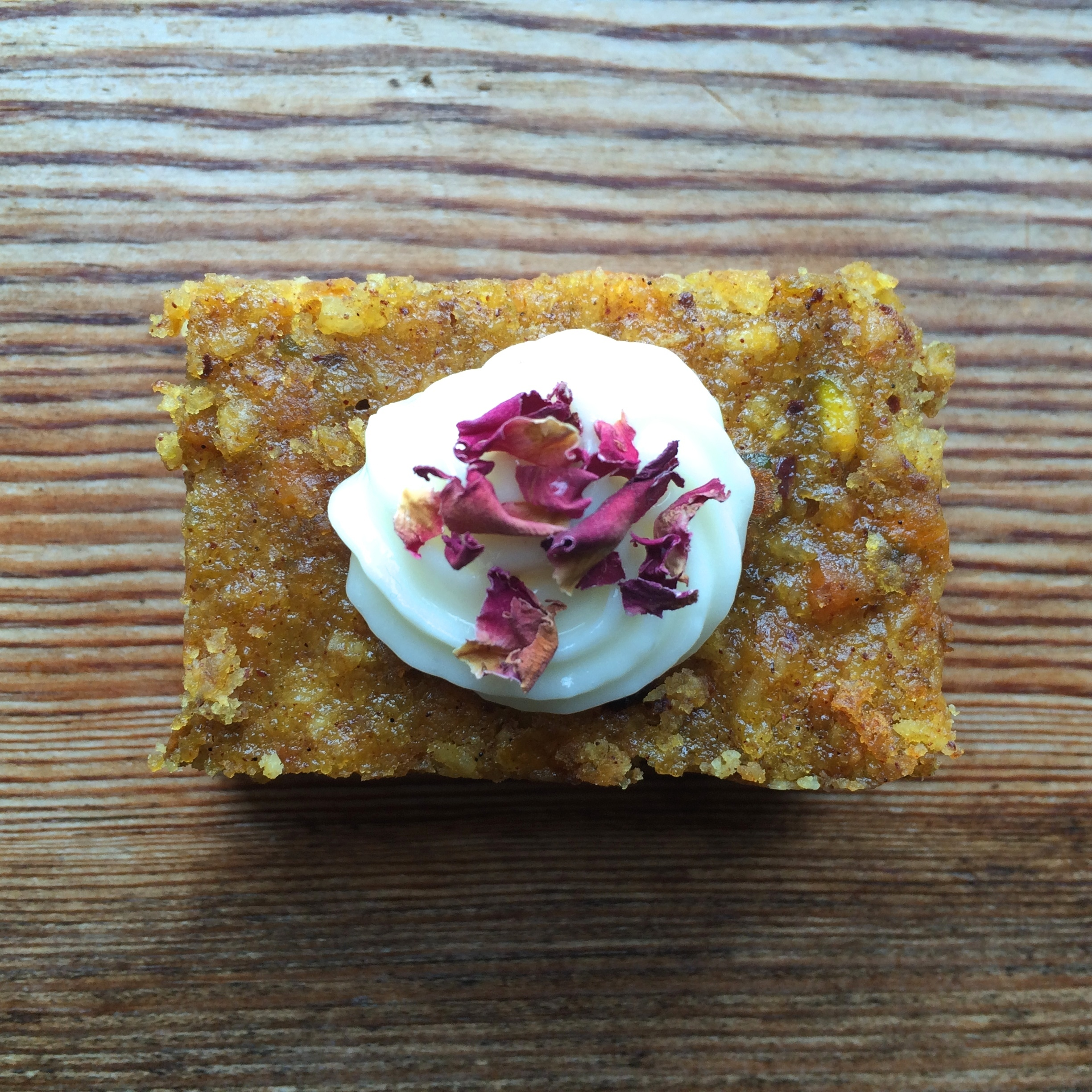 Gluten-Free Spiced Carrot, Pistachio and Almond Cake with Honey Icing
