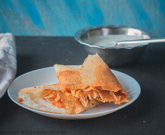 Noodles Dosa - Dosa with pizza sauce and noodles stuffing