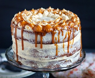 Banana layer cake with caramel cream cheese frosting