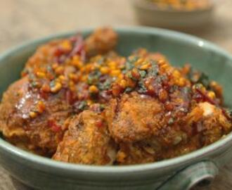 Southern-fried buttermilk chicken with tomato salsa