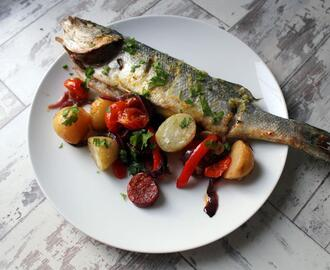 Oven baked summery sea bass recipe