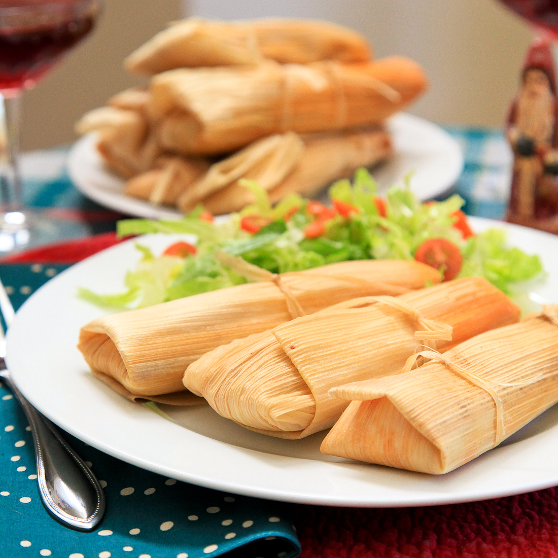 Pork tamales with chile colorado