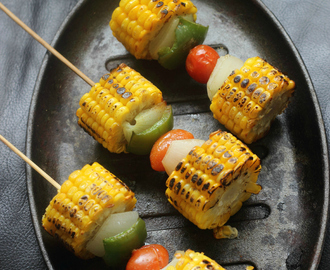 Corn On The Cob Kebabs: Corn On Sticks: Summer Appetizer: Vegetarian Kebabs