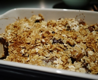 Pear and Dark Chocolate Crumble