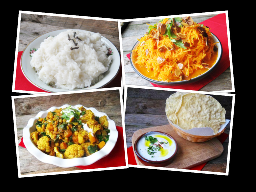 Vegetable curry, basmati rice and carrot salad / Gemüsecurry, Basmatireis & Möhrensalat