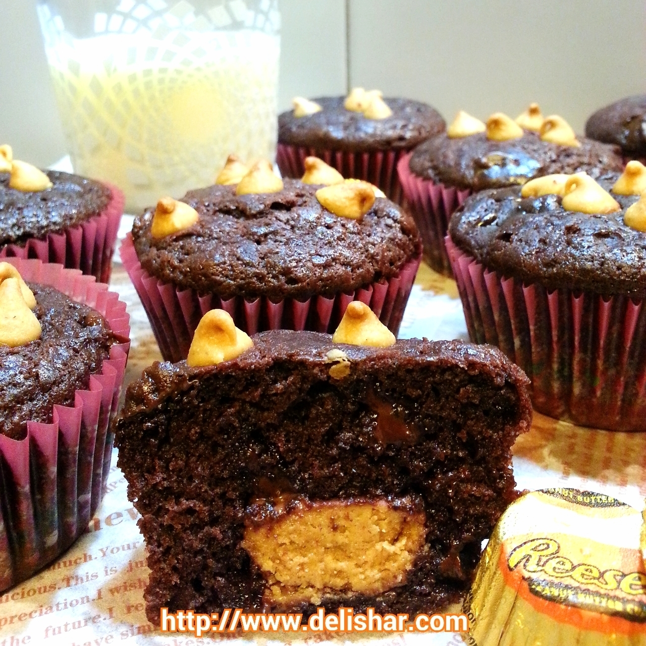 Reese's Peanut Butter Cup Stuffed Chocolate Muffins