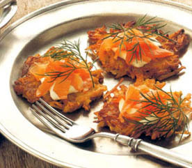 Crispy Potato Pancake and Smoked Salmon Canapés