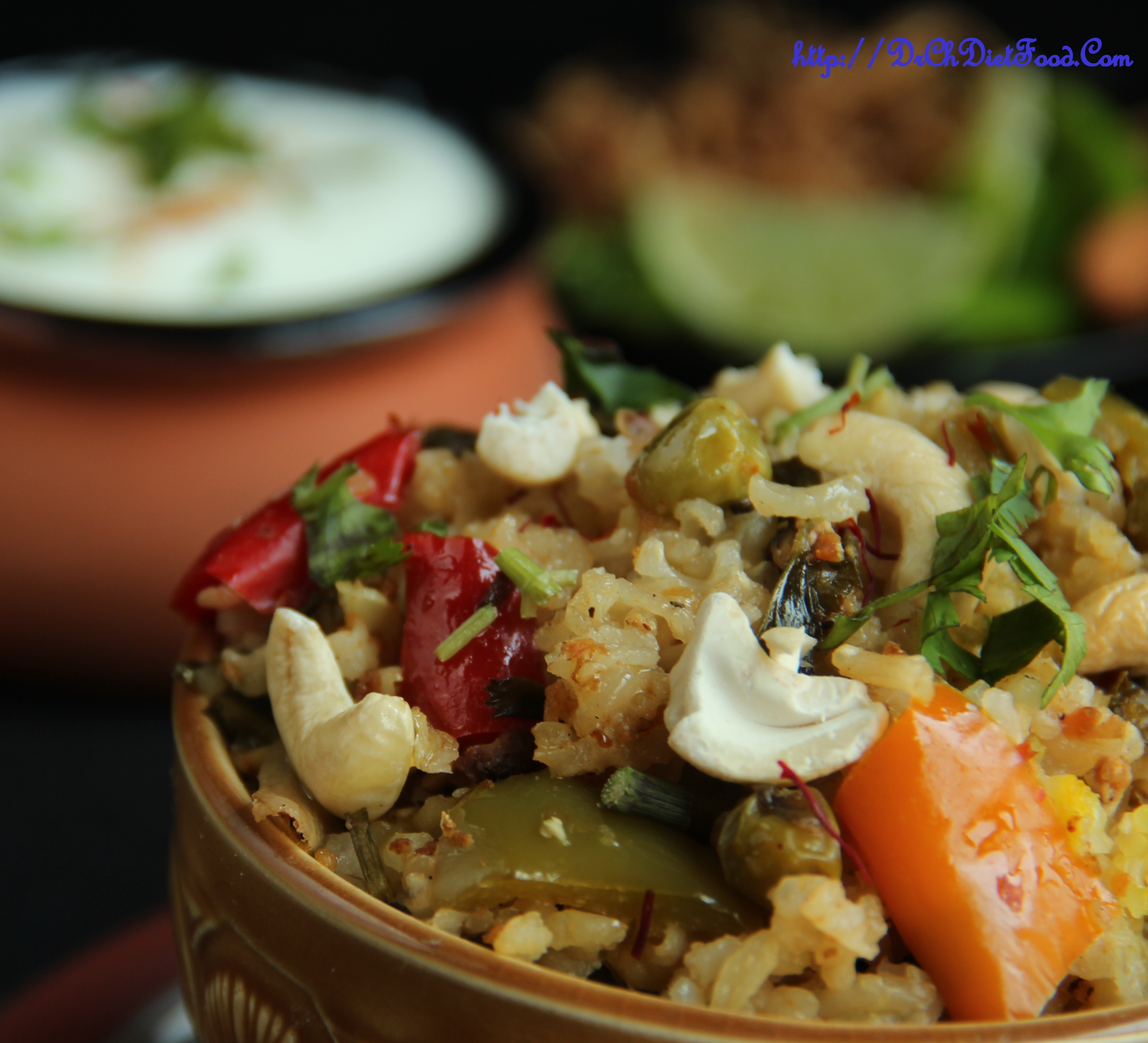 Veg Biryani – Brown rice with Capsicum and peas (Baked OR Cooked)