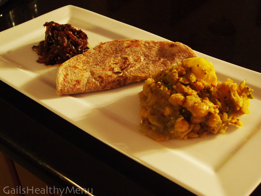 Chickpea & Potato Curry with Onion Sambol and Whole Wheat Roti