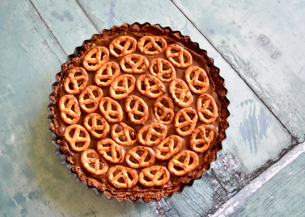 Gluten and Dairy Free Chocolate Caramel Peanut Pretzel Pie