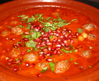 Tagine of spicy meatballs and pomegranate