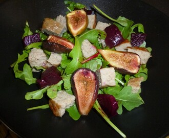 Grilled Sausage and Baked Fig Salad with a Pomegranate and Cumin Dressing Recipe