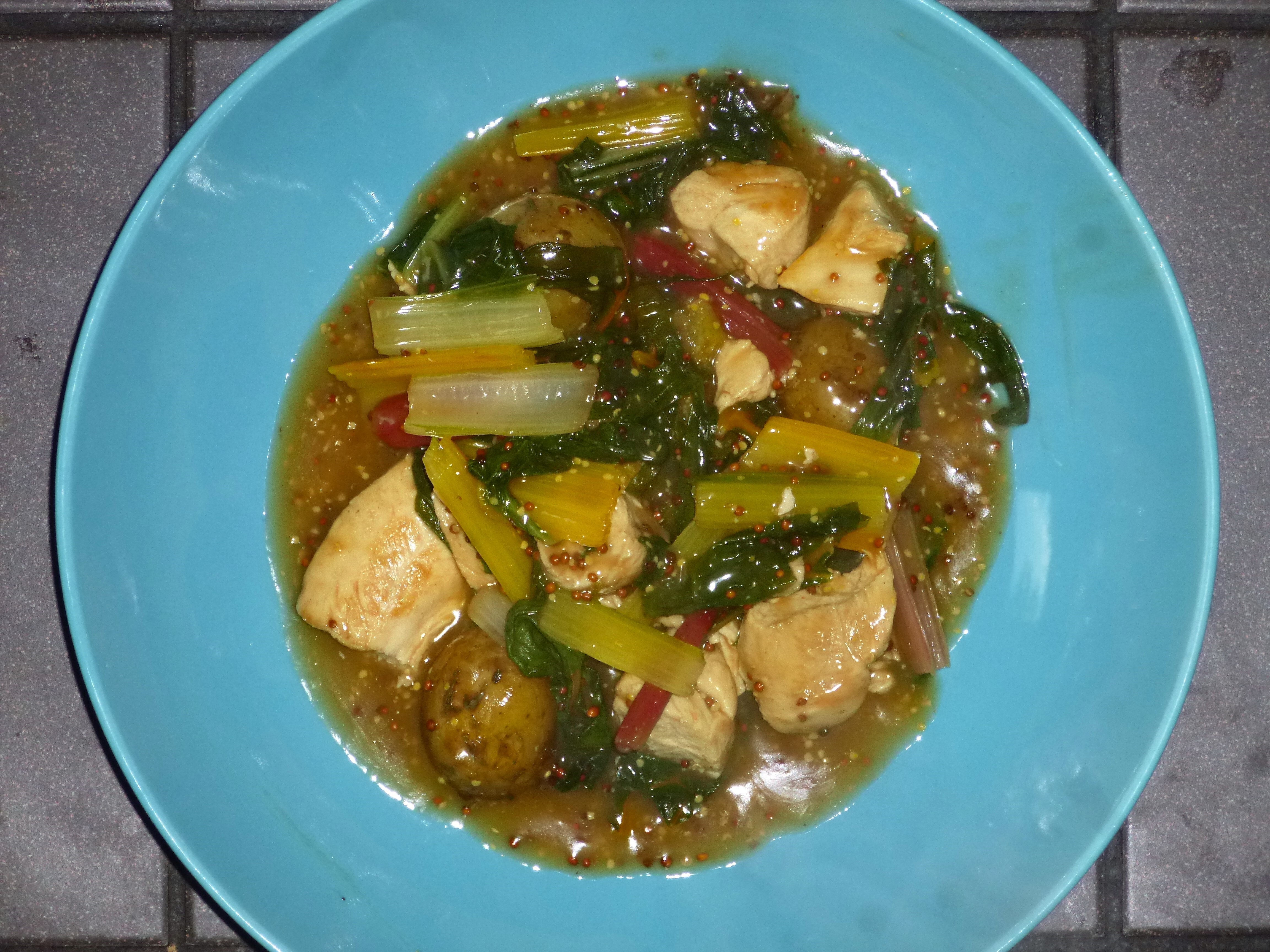 Mustardy Chicken, Swiss Chard and Potato One Pot Recipe (5:2 diet 244 kcal)
