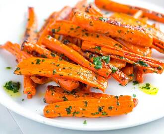 Roasted Carrots Recipe with Garlic Parsley Butter