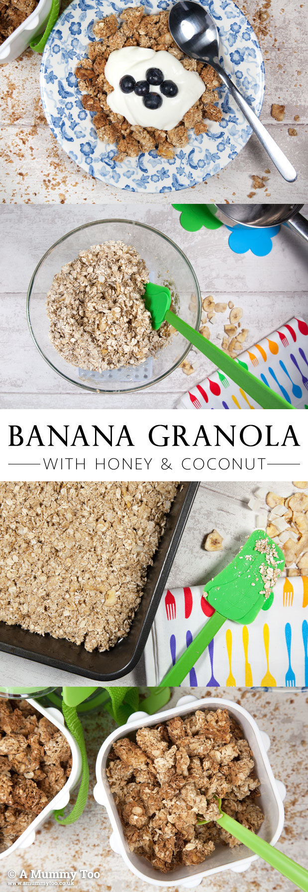 Homemade coconut and banana granola