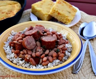 Miss Kay's Pinto Beans & Sausage + {Mom's Mexican Cornbread}
