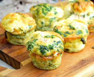 Breakfast Cups with Scrambled Eggs, Spinach, Ham & Cheese
