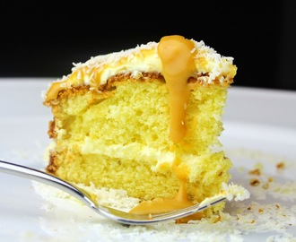 coconut and lime cake with a rum toffee sauce