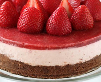 Recipe No - Bake Strawberry Cheesecake