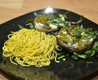 Mozzarella and Pesto Stuffed Mushrooms with Noodles