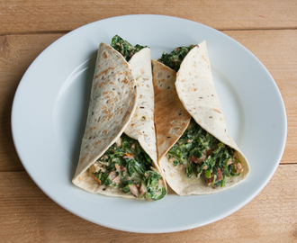 Comfort food: Wraps met spinazie, zalm en roomkaas