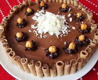 Easy Fudge Cake with Chocolate Mousse and Cigarillos