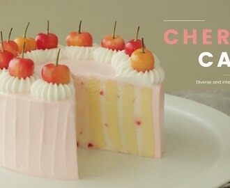 체리 롤 생크림 케이크 만들기💕 : Cherry vertical layer cake Recipe - Cooking tree 쿠킹트리*Cooking ASMR