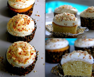 Vanilla CupCakes with Butter Cream Frosting Garnished with Grounded Almonds