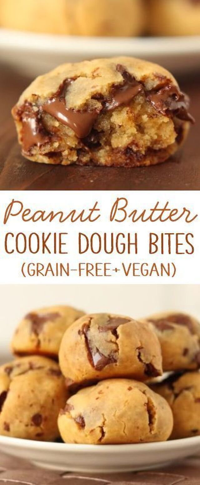 Grain-free Peanut Butter Chocolate Chip Cookie Dough Bites Recipe (gluten-free with vegan and dairy-free options)