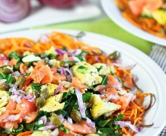 Smoked Salmon, Collards and Sweet Potato Breakfast Scramble
