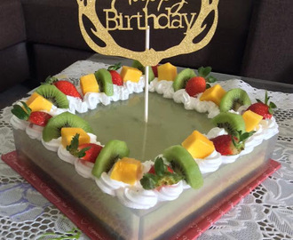 ~ Fruity ABC Jelly Birthday Cake ~                                ~ 水果八宝雪燕菜生日蛋糕 ~