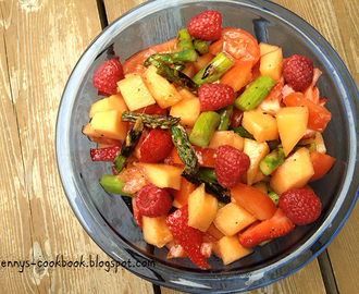 Asparagus and Tomato Salad with Berries and Melon - The Salad Bar Monthly Blogging Challenge